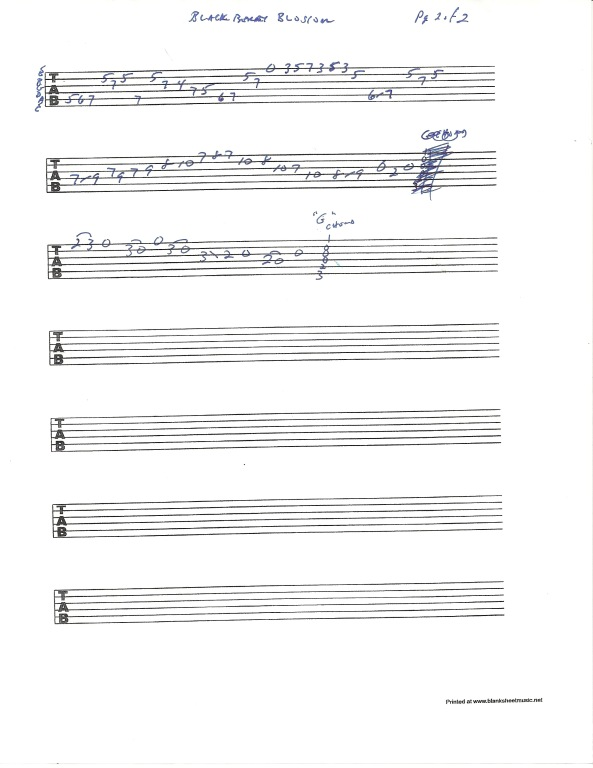 Guitar tablature for Blackberry Blossom in the style of Tony Rice - pg 2 of 2
