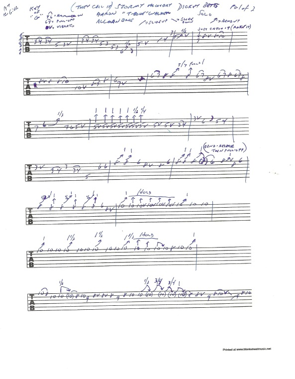 Allman Brothers Stormy Monday - Dickey Betts guitar solo tablature page 1 of 2