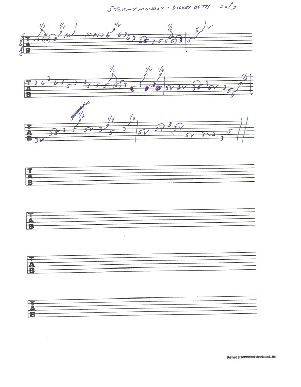 Allman Brothers Stormy Monday - Dickey Betts guitar solo tablature page 2 of 2
