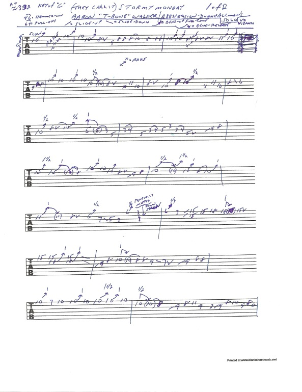 "Guitar tab for Duane Allman's solo from the Duane Allman's guitar solo from the Allman Brothers Fillmore Live album version of ""Stormy Monday"" pg 1 of 2"