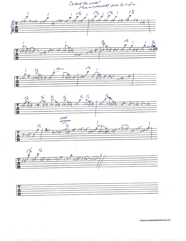 "Guitar tab for Duane Allman's solo from the Duane Allman's guitar solo from the Allman Brothers Fillmore Live album version of ""Stormy Monday"" pg 2 of 2"