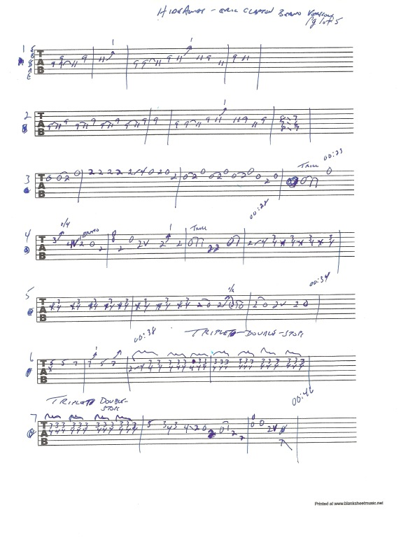 Eric Clapton Hideaway guitar tab page 1 of 5