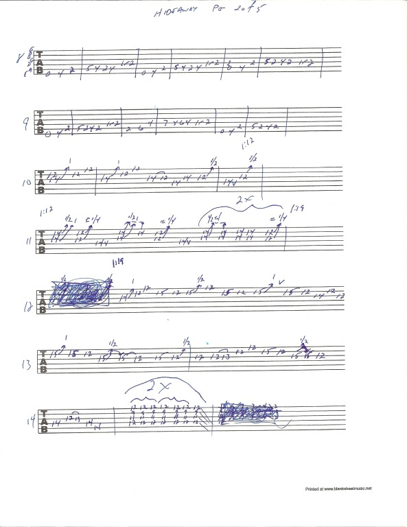 Eric Clapton Hideaway guitar tab page 2 of 5