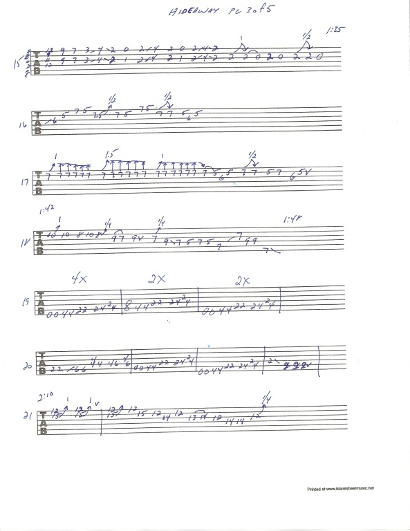 Eric Clapton Hideaway guitar tab page 3 of 5