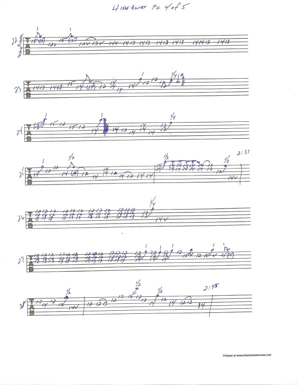Eric Clapton Hideaway guitar tab page 4 of 5