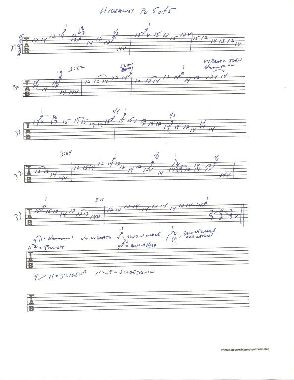 Eric Clapton Hideaway guitar tab page 5 of 5