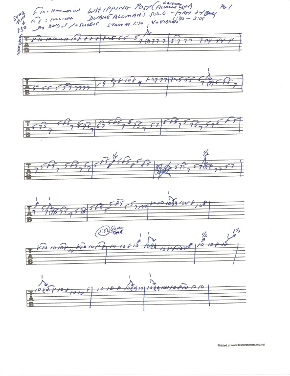 Allman Brothers Band - Whipping Post guitar tab - Duane Allman Solo - pg 1