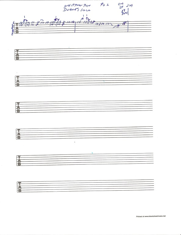 Allman Brothers Band - Whipping Post guitar tab - Duane Allman Solo - pg 2