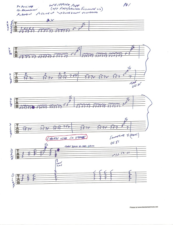 Allman Brothers Band - Whipping Post guitar tablature - page 1