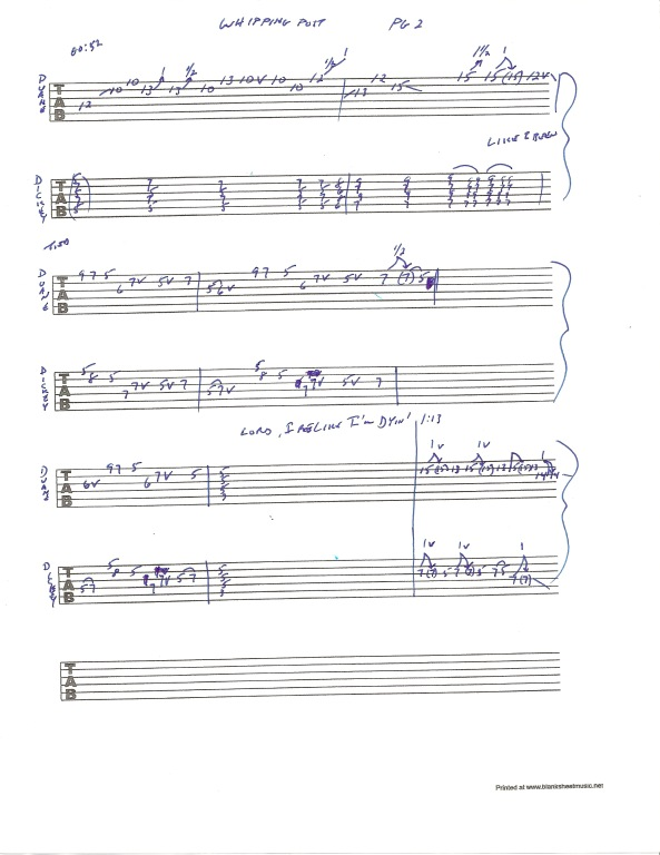 Allman Brothers Band - Whipping Post guitar tablature - page 2
